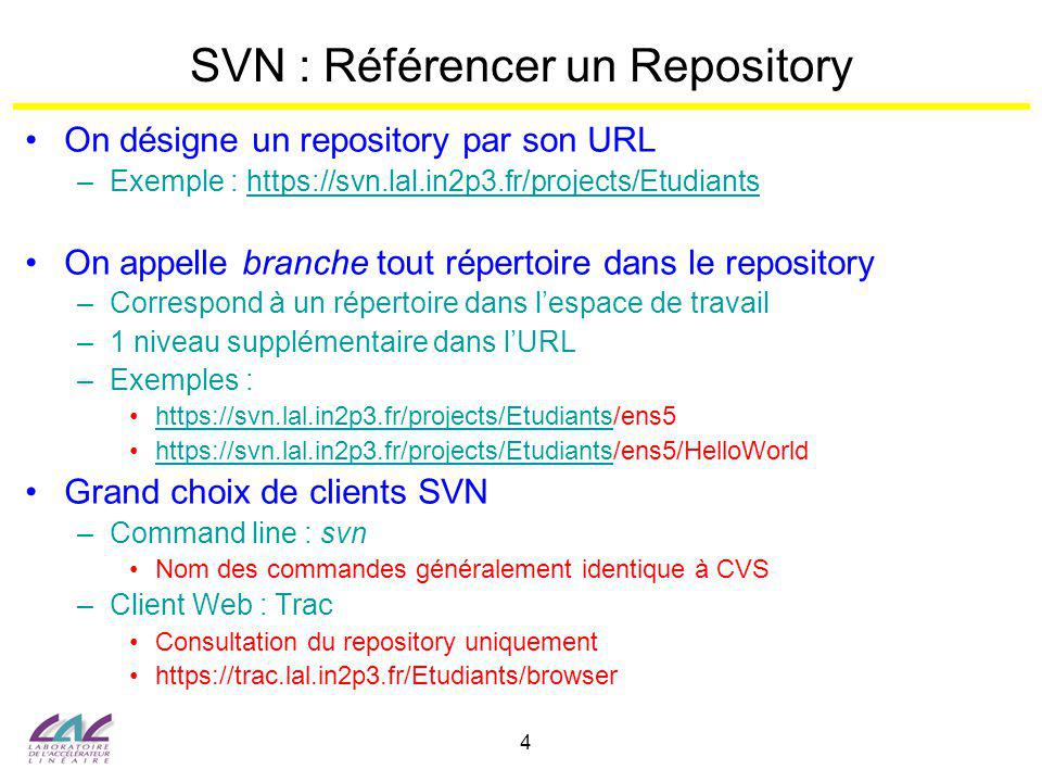 SVN : Référencer un Repository