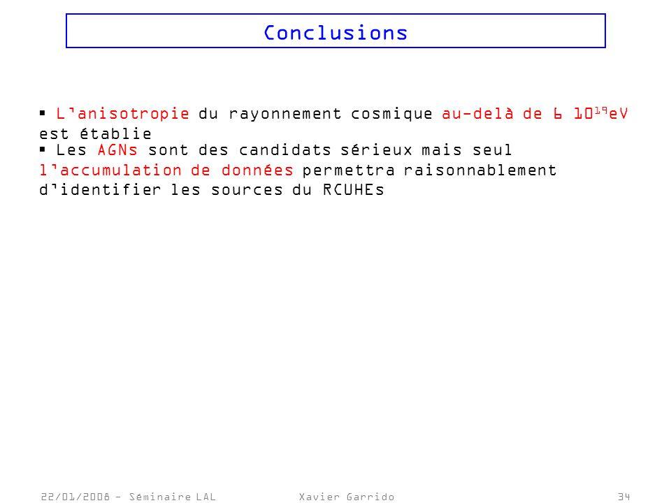 Conclusions L'anisotropie du rayonnement cosmique au-delà de 6 1019eV est établie.