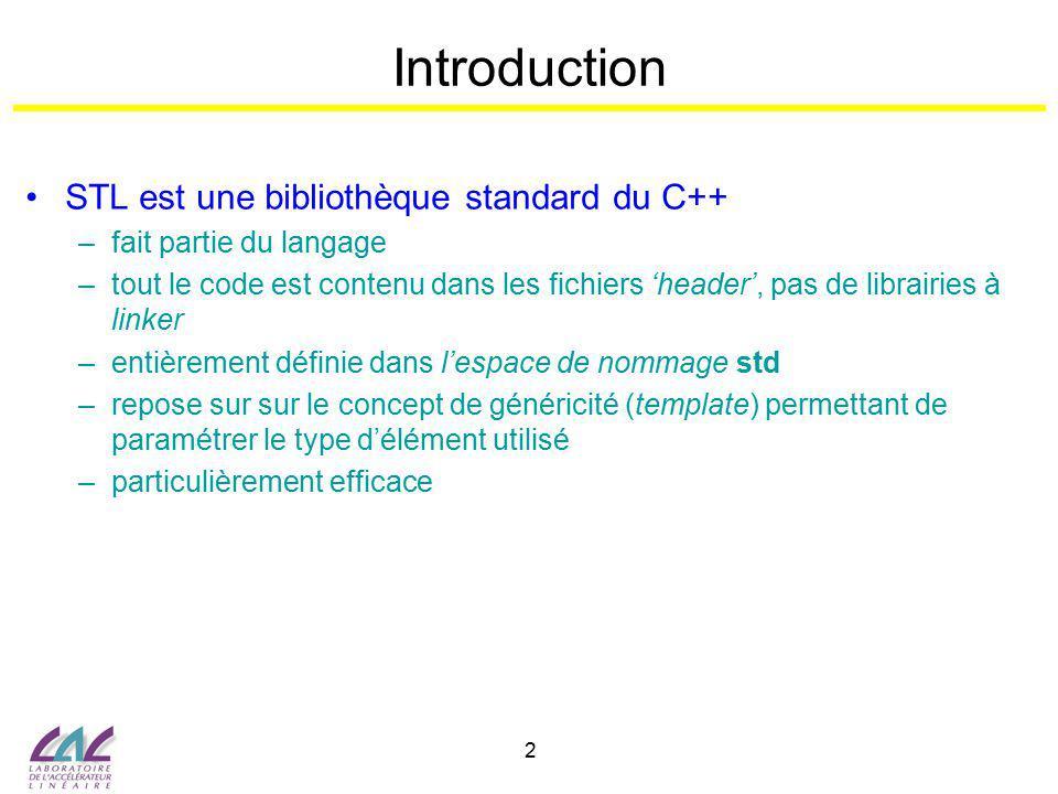 Introduction STL est une bibliothèque standard du C++