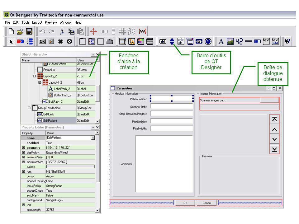 Fenêtres d'aide à la création Barre d'outils de QT Designer