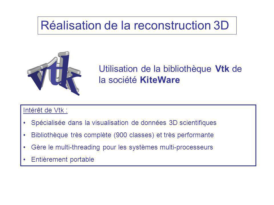 Réalisation de la reconstruction 3D