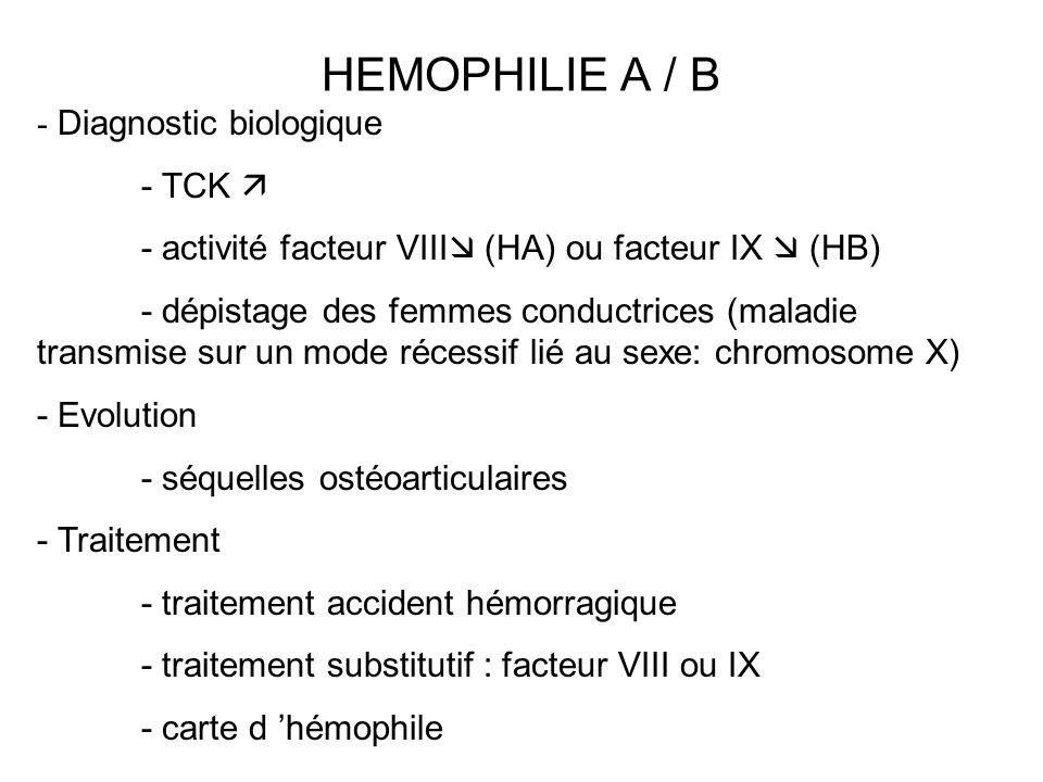 HEMOPHILIE A / B - Diagnostic biologique - TCK 