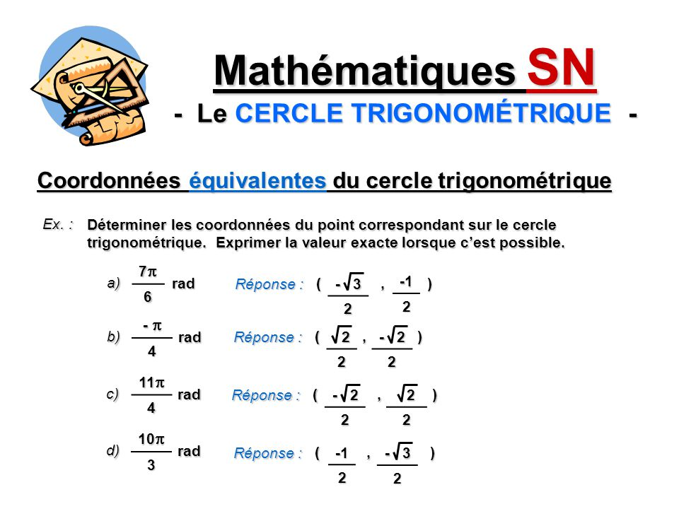 Mathématiques SN - Le CERCLE TRIGONOMÉTRIQUE -