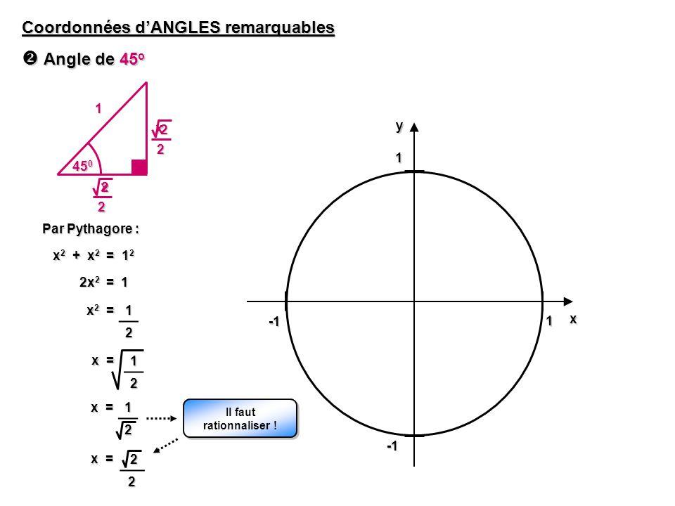  Angle de 45o Coordonnées d'ANGLES remarquables 1 y x 2 1 450 2 1 x 2