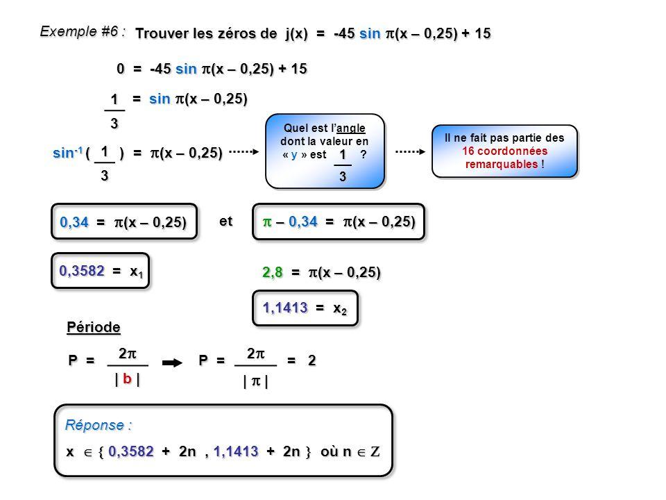 Exemple #6 : Trouver les zéros de j(x) = -45 sin (x – 0,25) + 15. 0 = -45 sin (x – 0,25) + 15.