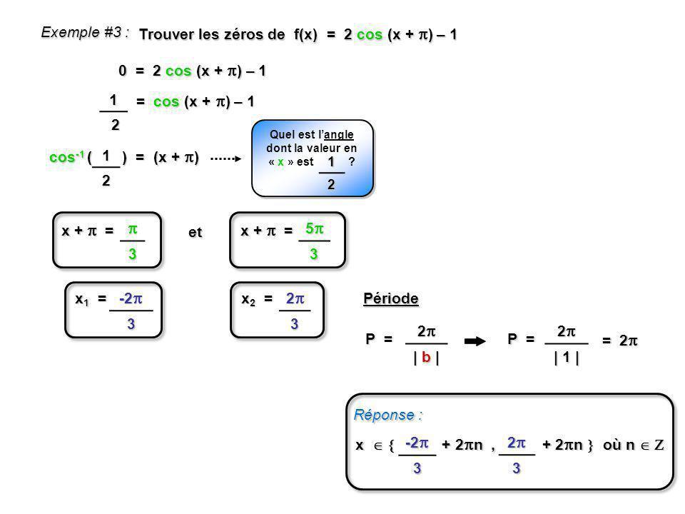Quel est l'angle dont la valeur en « x » est