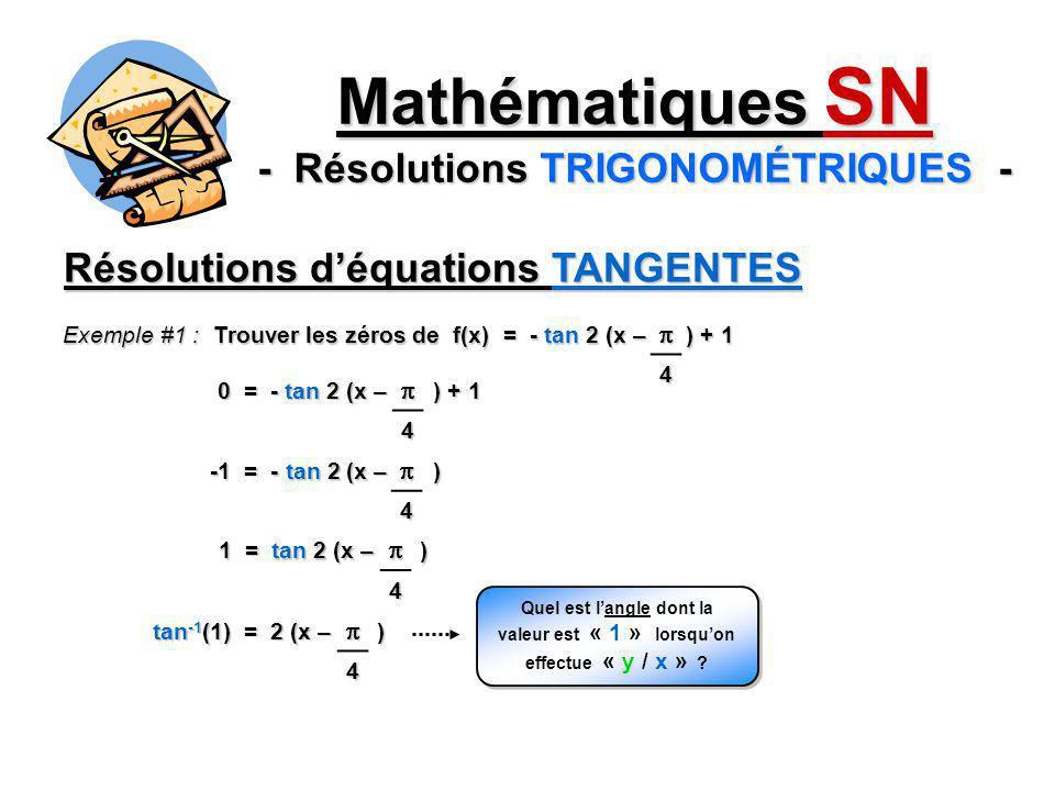 Mathématiques SN - Résolutions TRIGONOMÉTRIQUES -