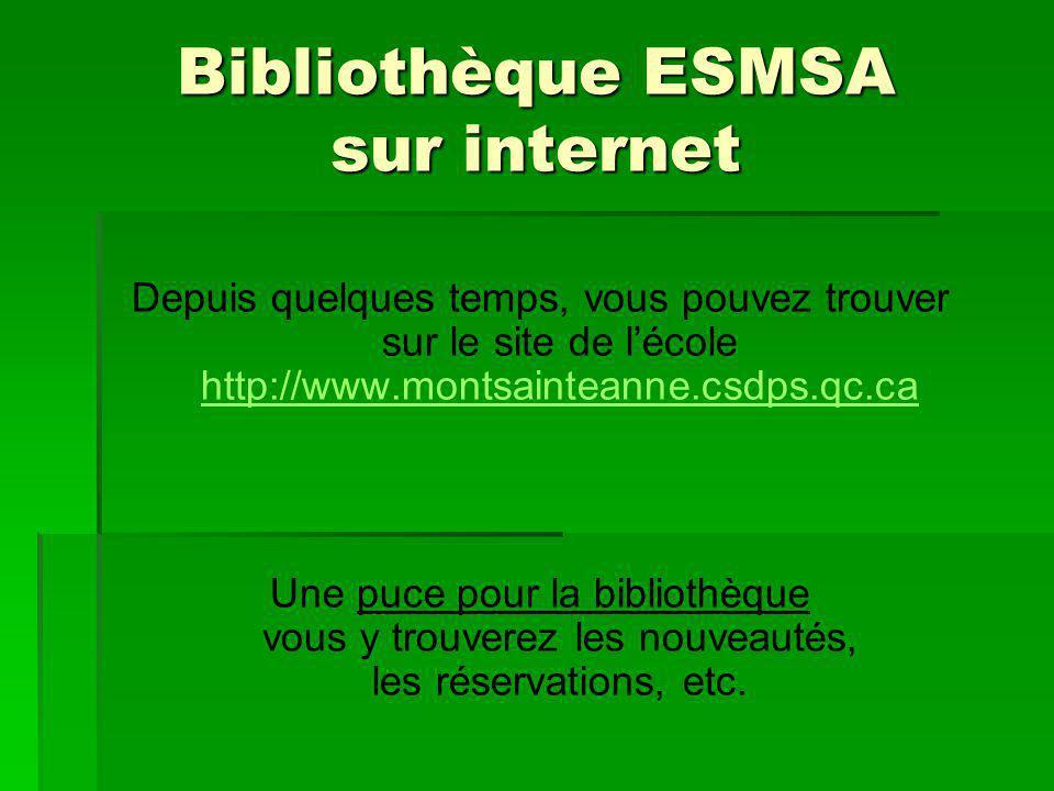 Bibliothèque ESMSA sur internet