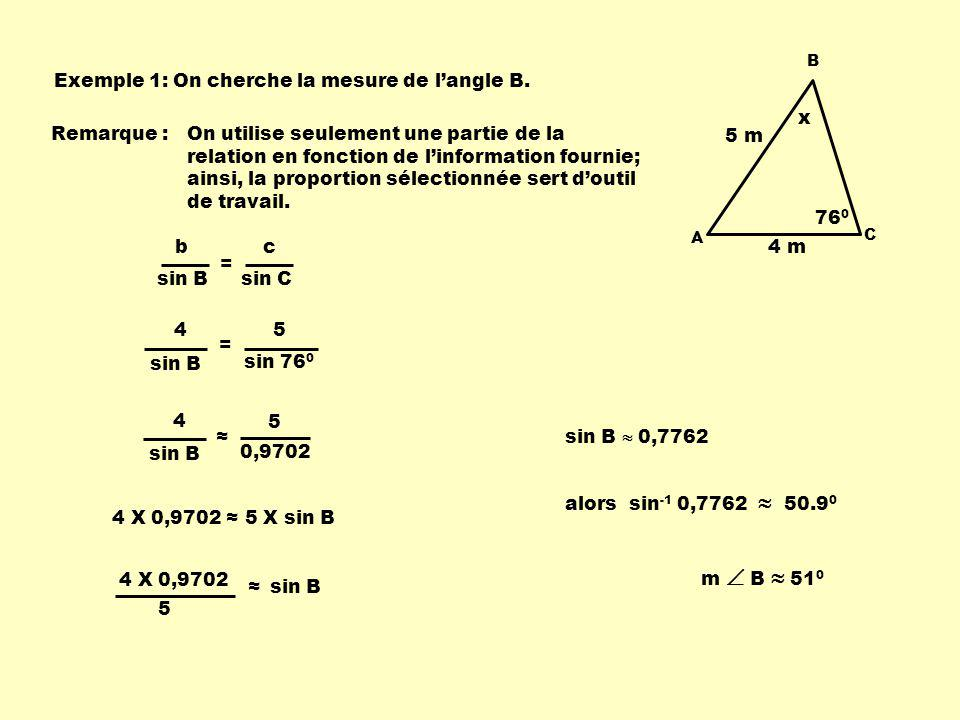 Exemple 1: On cherche la mesure de l'angle B.