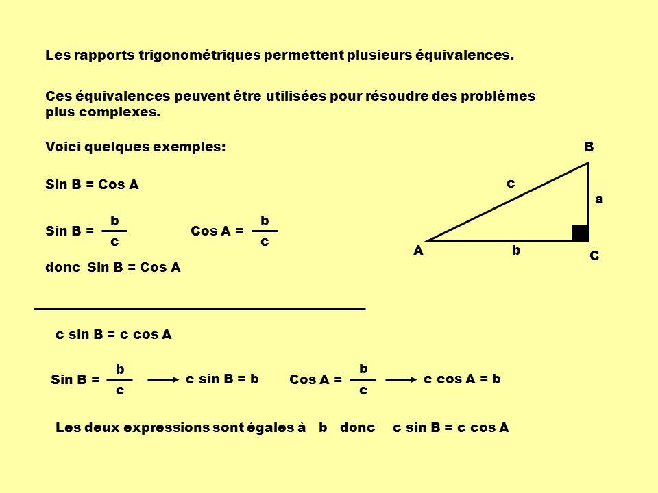 Les rapports trigonométriques permettent plusieurs équivalences.