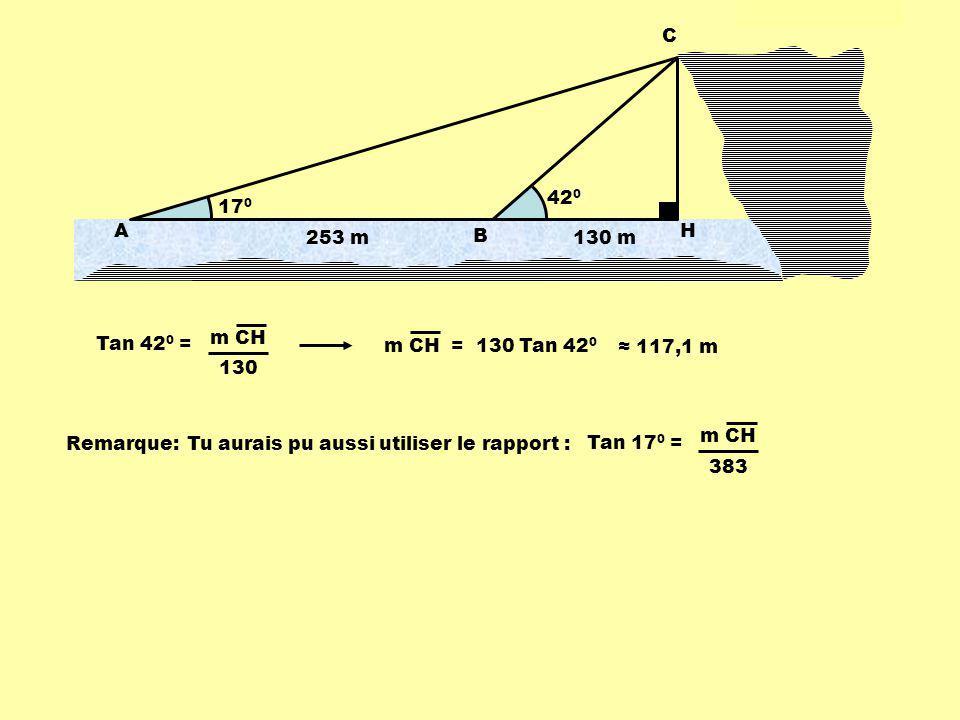 420 170. 253 m. A. B. C. H. 130 m. Tan 420 = m CH. 130. m CH = 130 Tan 420. ≈ 117,1 m.