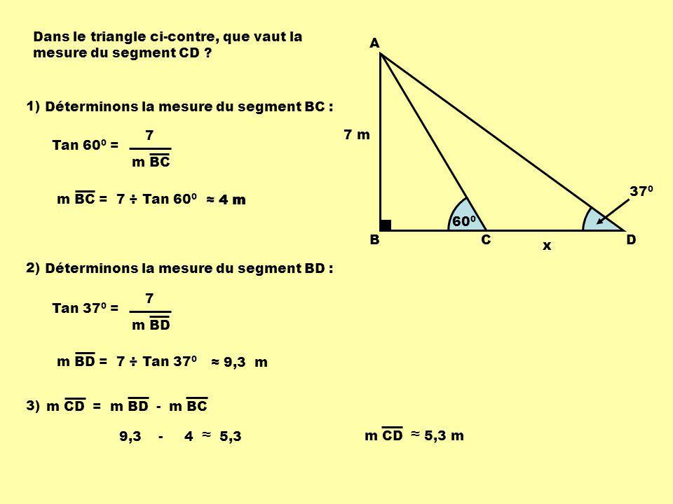 Dans le triangle ci-contre, que vaut la mesure du segment CD