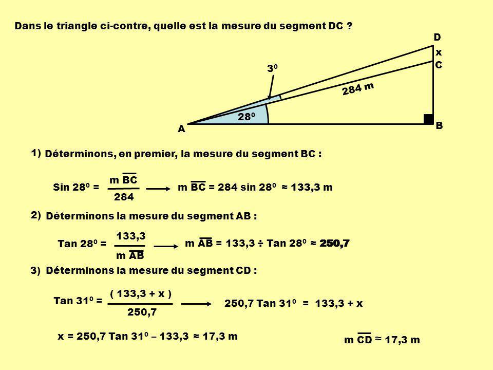 Dans le triangle ci-contre, quelle est la mesure du segment DC