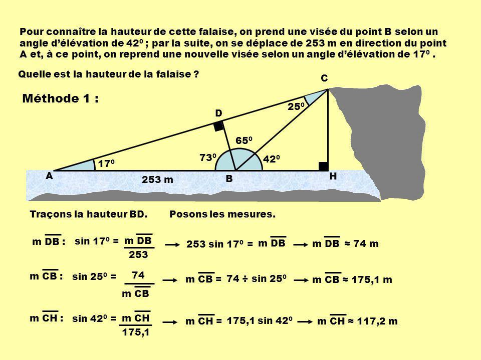 Pour connaître la hauteur de cette falaise, on prend une visée du point B selon un angle d'élévation de 420 ; par la suite, on se déplace de 253 m en direction du point A et, à ce point, on reprend une nouvelle visée selon un angle d'élévation de 170 .
