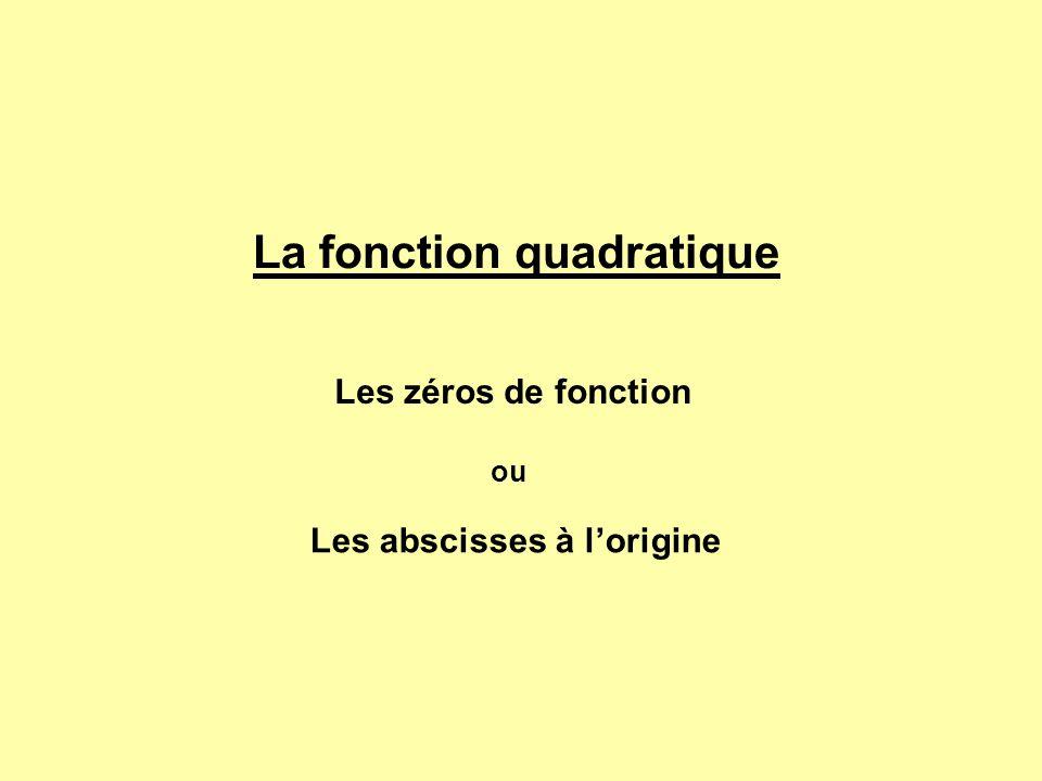 La fonction quadratique