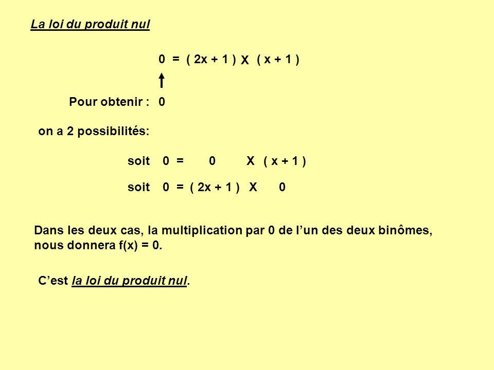 La loi du produit nul 0 = ( 2x + 1 ) ( x + 1 ) X. Pour obtenir : on a 2 possibilités: 0 =