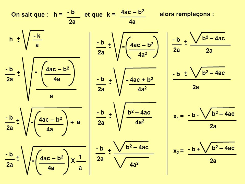 - b 2a. h = 4a. 4ac – b2. k = On sait que : et que. alors remplaçons : - k. a. h. + - 4a2.