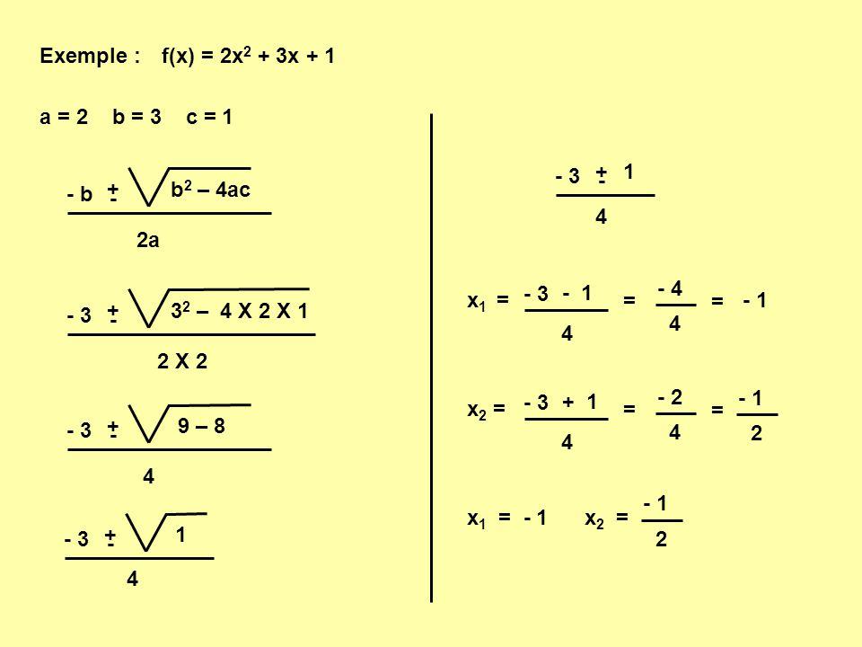 Exemple : f(x) = 2x2 + 3x + 1. a = 2 b = 3 c = 1. 4. 1. + - - 3. 2a. b2 – 4ac. + - - b.