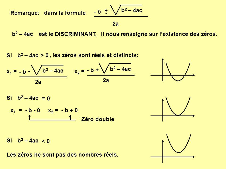 2a b2 – 4ac. + - - b. Remarque: dans la formule. b2 – 4ac. est le DISCRIMINANT. Il nous renseigne sur l'existence des zéros.