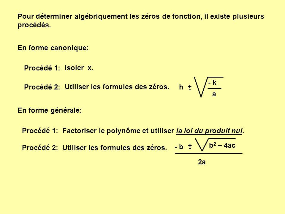 Pour déterminer algébriquement les zéros de fonction, il existe plusieurs procédés.
