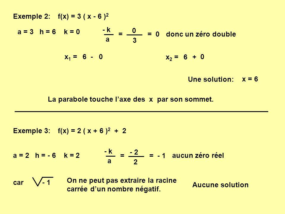 Exemple 2: f(x) = 3 ( x - 6 )2. - k. a. = 3. a = 3 h = 6 k = 0. = 0. donc un zéro double.