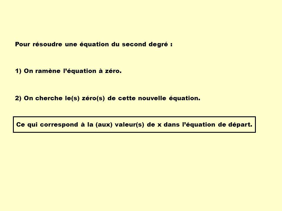Pour résoudre une équation du second degré :