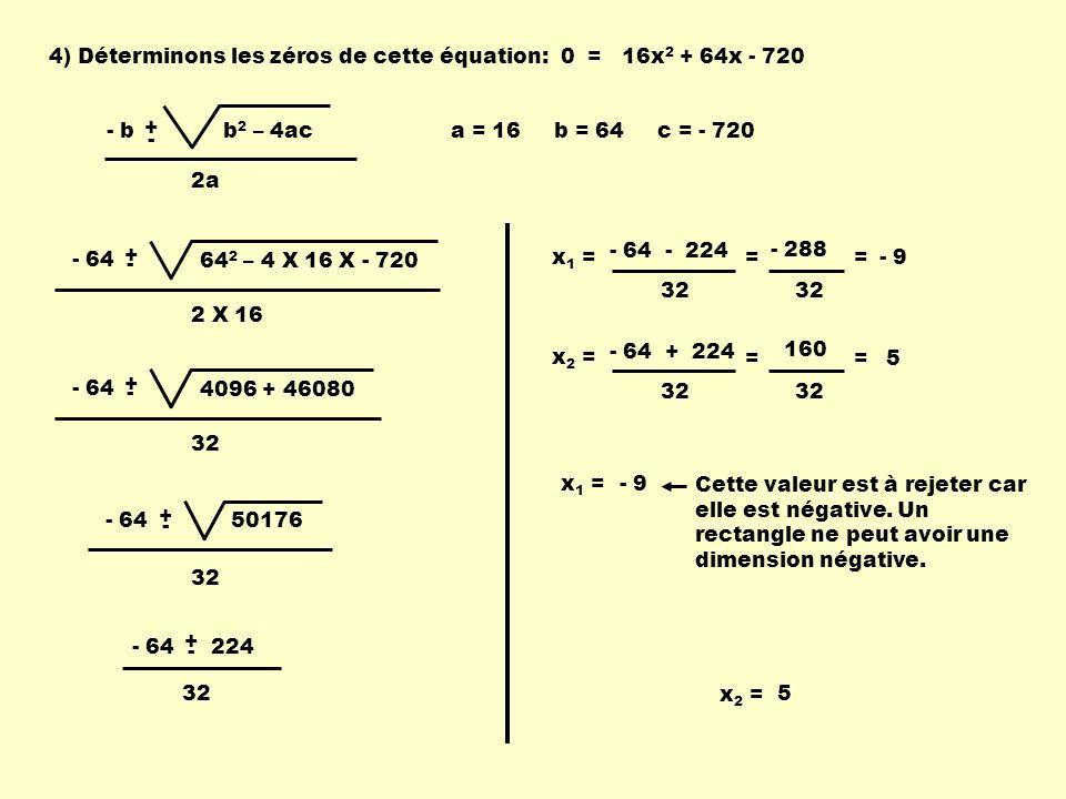 4) Déterminons les zéros de cette équation:
