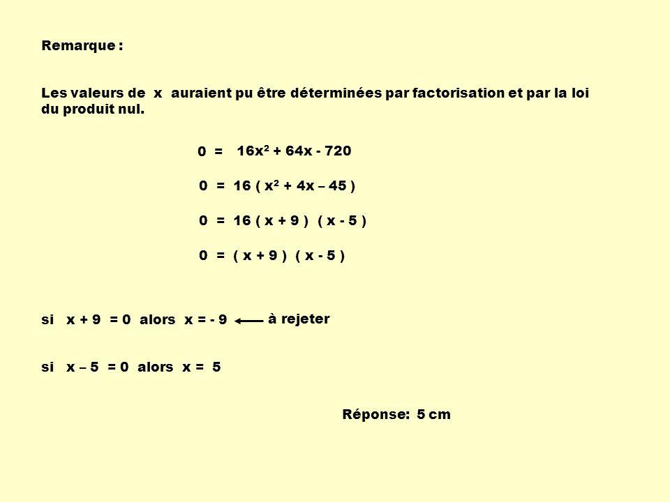 Remarque : Les valeurs de x auraient pu être déterminées par factorisation et par la loi du produit nul.