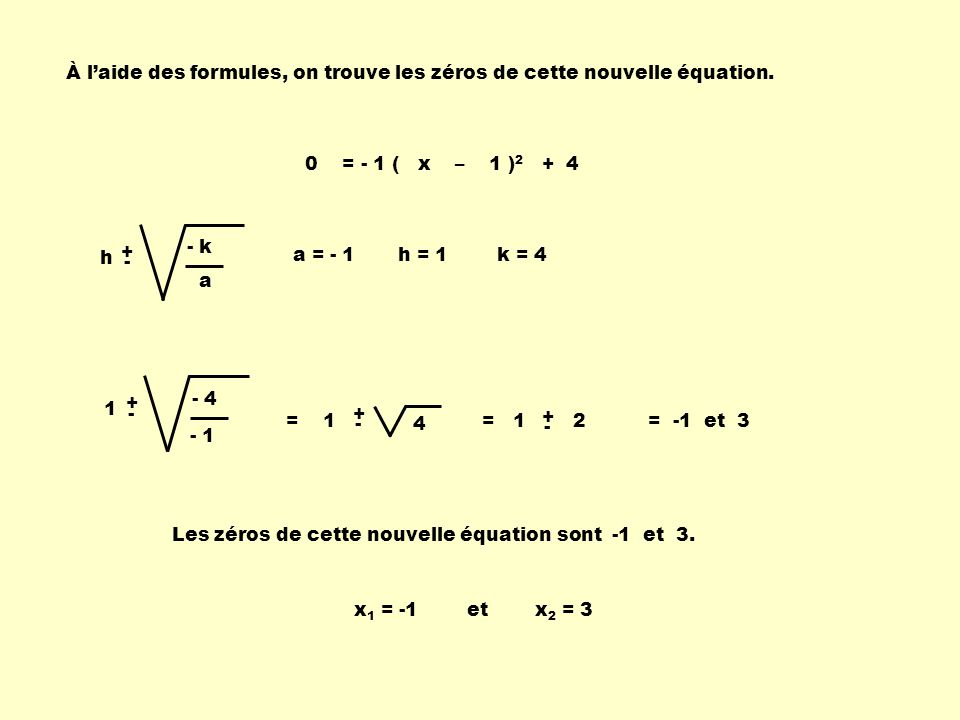 À l'aide des formules, on trouve les zéros de cette nouvelle équation.