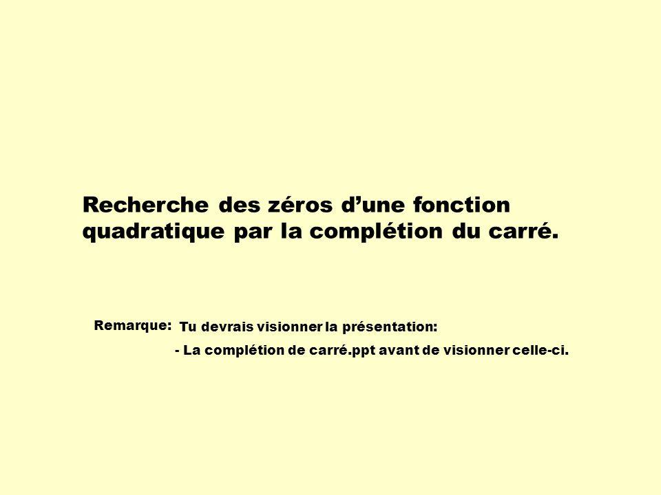 Recherche des zéros d'une fonction quadratique par la complétion du carré.