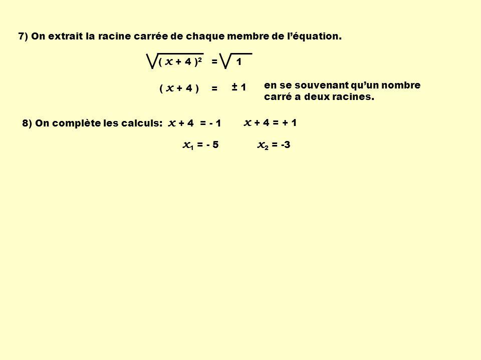 7) On extrait la racine carrée de chaque membre de l'équation.