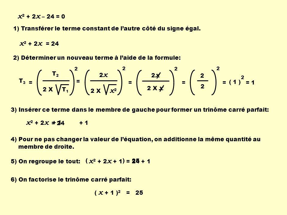 x2 + 2x – 24 = 0 1) Transférer le terme constant de l'autre côté du signe égal. x2 + 2x = 24.