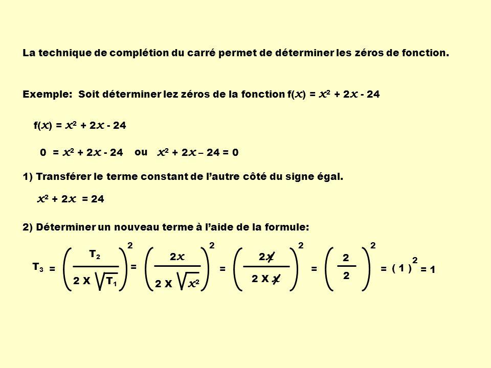 Soit déterminer lez zéros de la fonction f(x) = x2 + 2x - 24