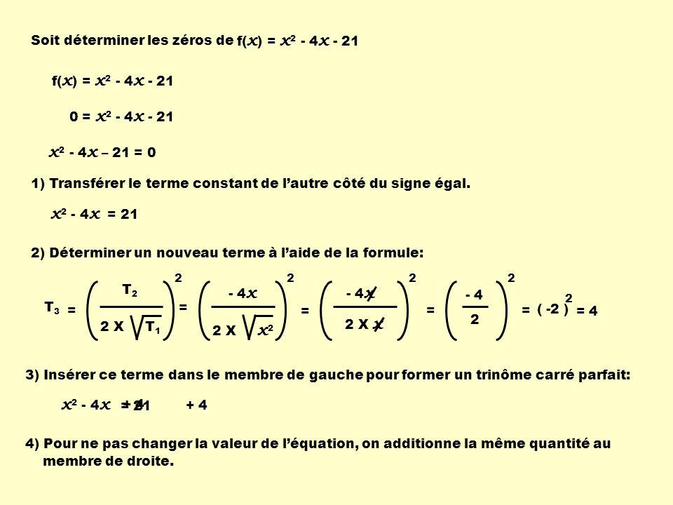 Soit déterminer les zéros de f(x) = x2 - 4x - 21