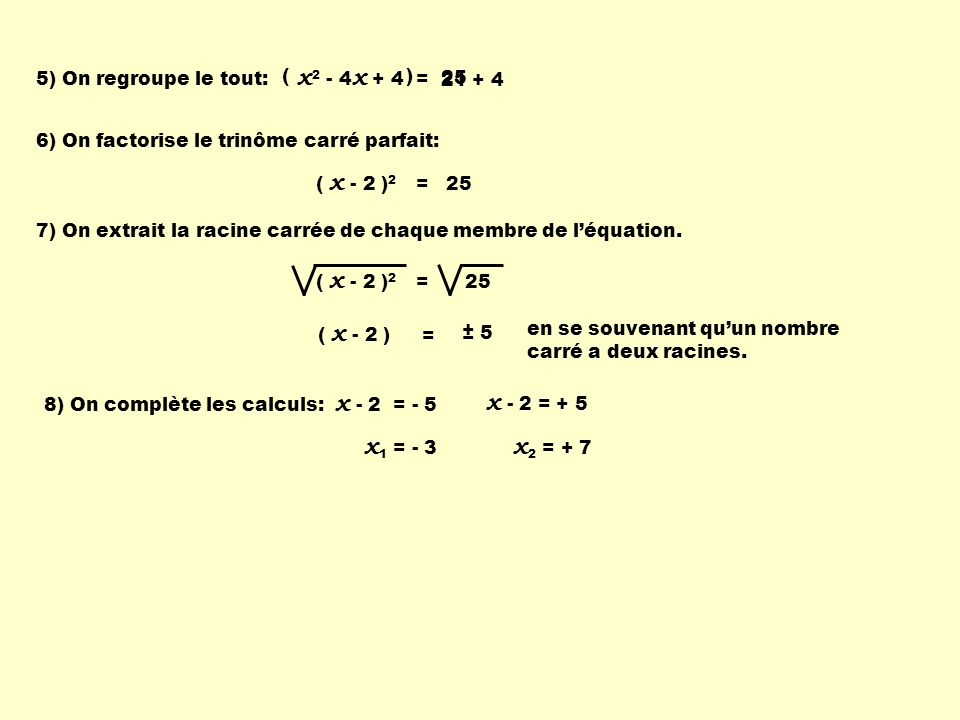 x2 - 4x + 4 = 5) On regroupe le tout: ( ) 25. 21 + 4. 6) On factorise le trinôme carré parfait: