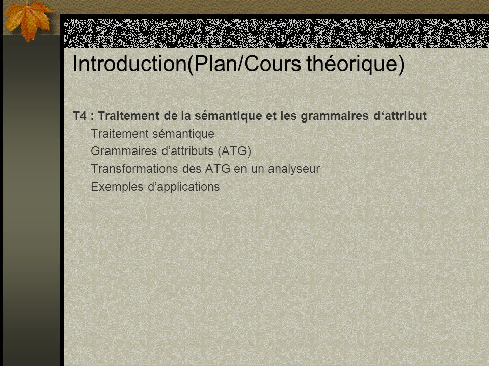 Introduction(Plan/Cours théorique)