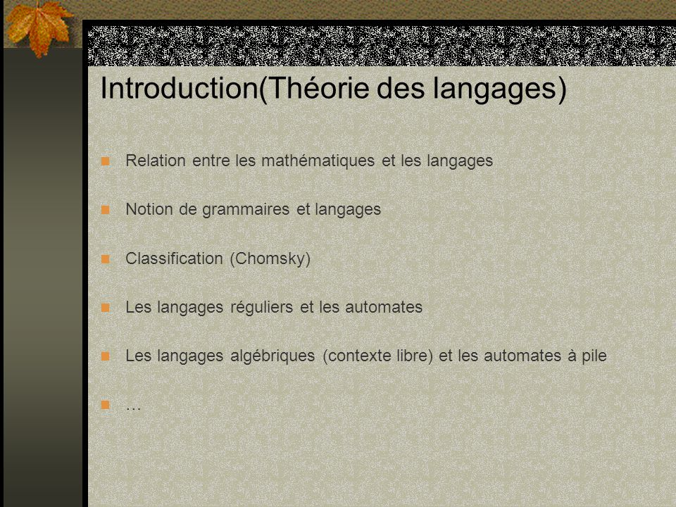 Introduction(Théorie des langages)