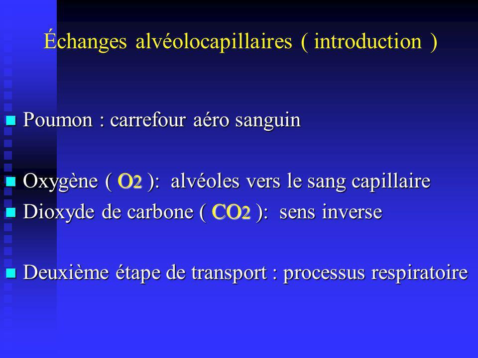 Échanges alvéolocapillaires ( introduction )