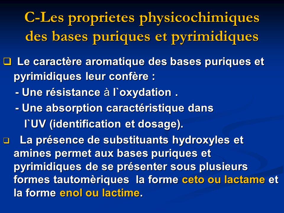 C-Les proprietes physicochimiques des bases puriques et pyrimidiques