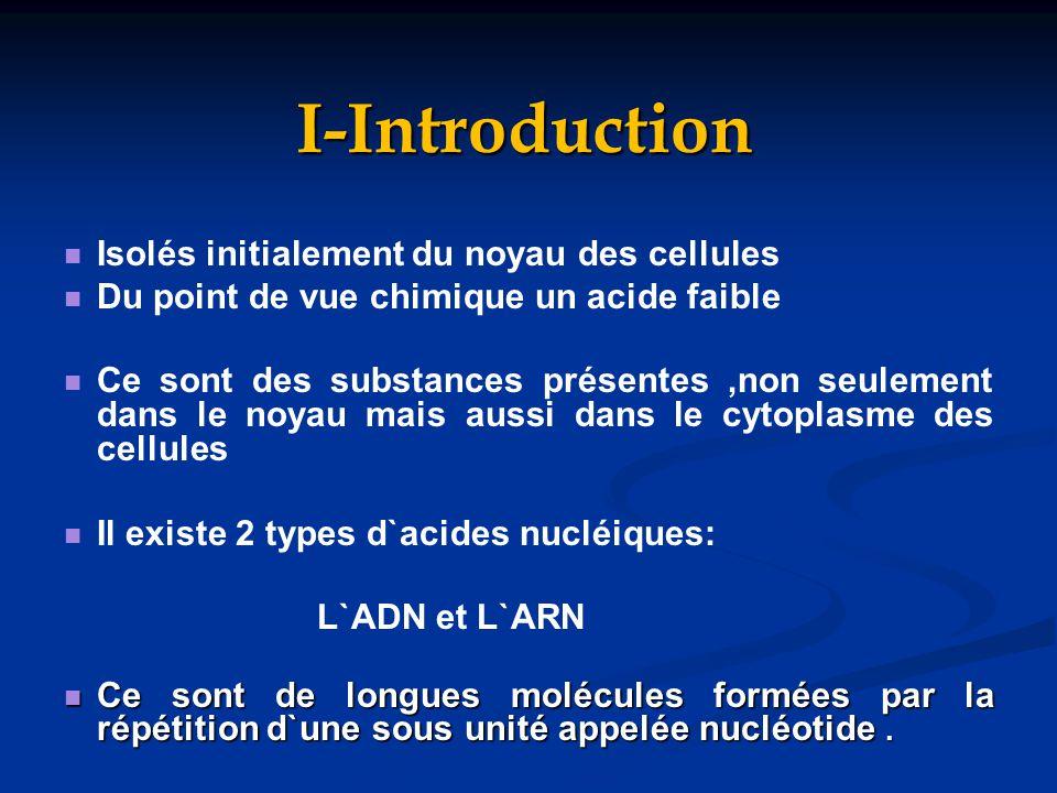 I-Introduction Isolés initialement du noyau des cellules