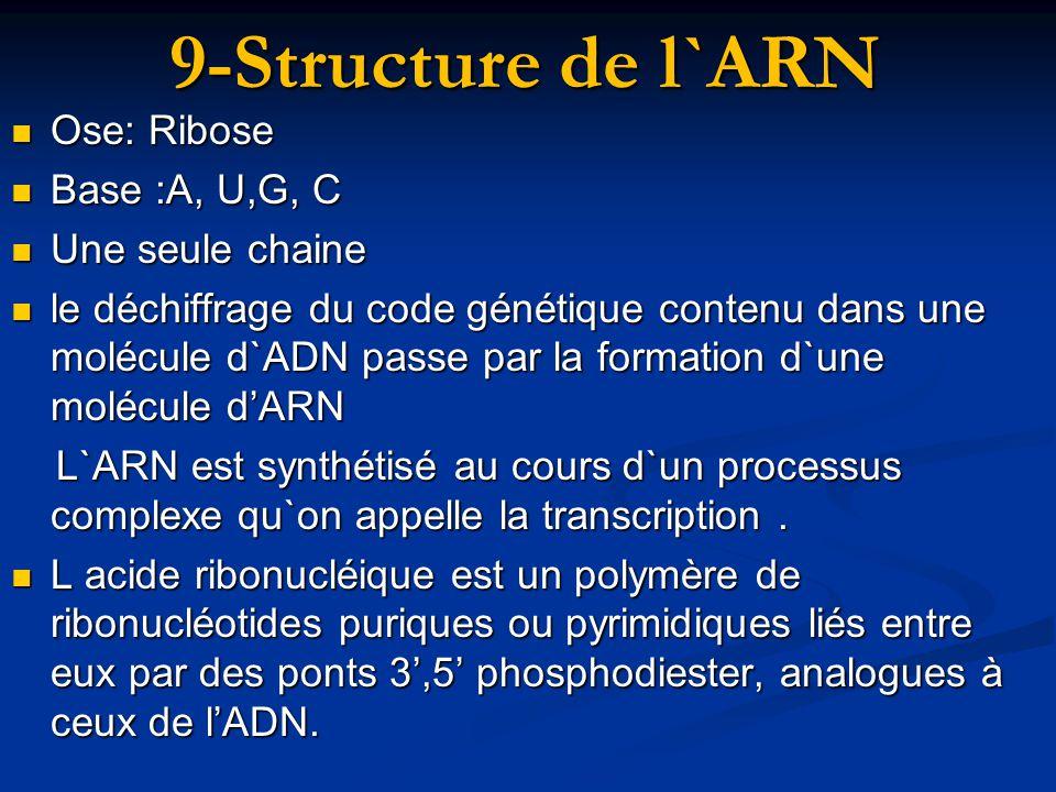 9-Structure de l`ARN Ose: Ribose Base :A, U,G, C Une seule chaine