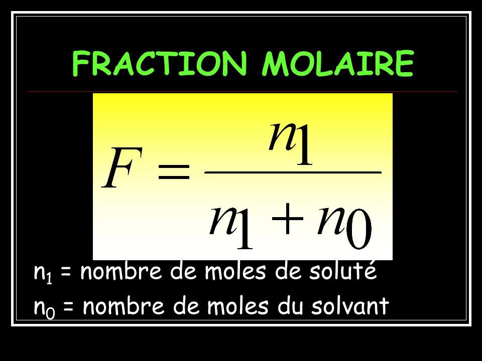 FRACTION MOLAIRE n1 = nombre de moles de soluté