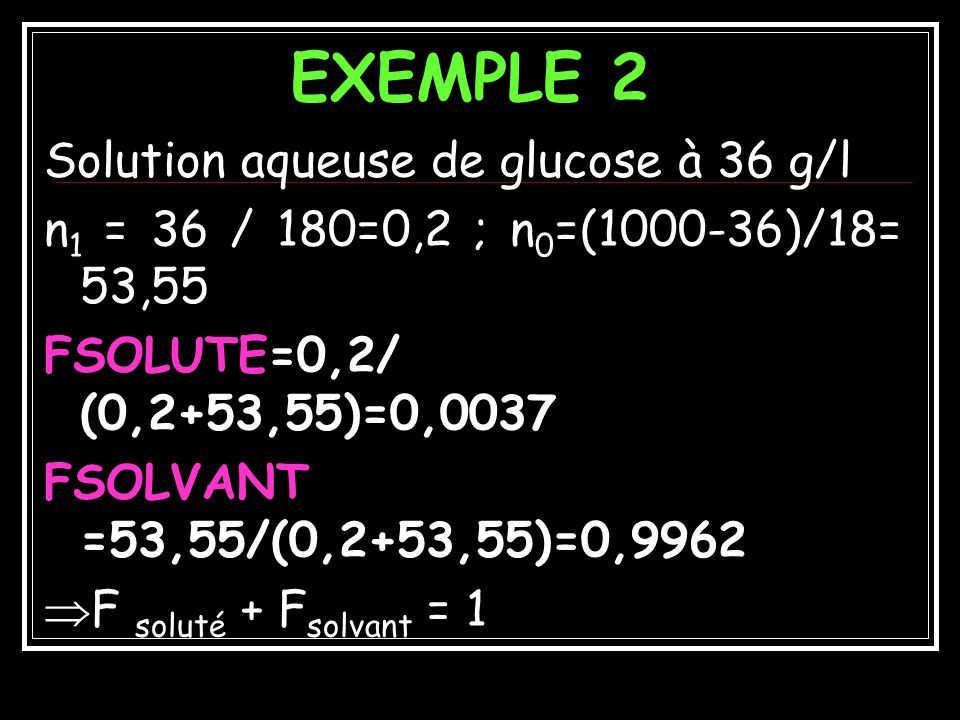 EXEMPLE 2 Solution aqueuse de glucose à 36 g/l