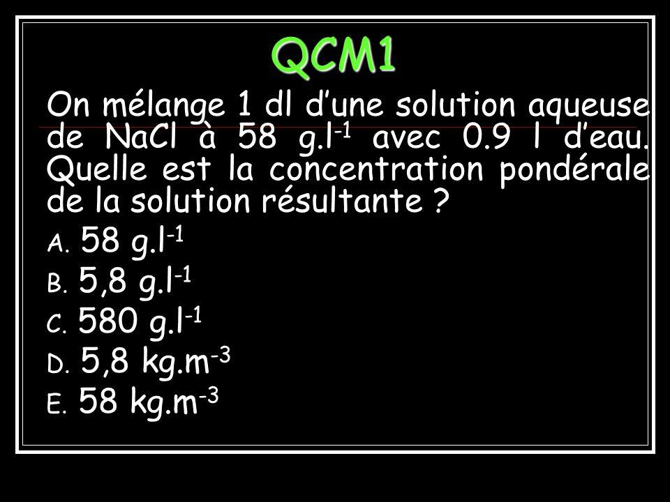 QCM1 On mélange 1 dl d'une solution aqueuse de NaCl à 58 g.l-1 avec 0.9 l d'eau. Quelle est la concentration pondérale de la solution résultante