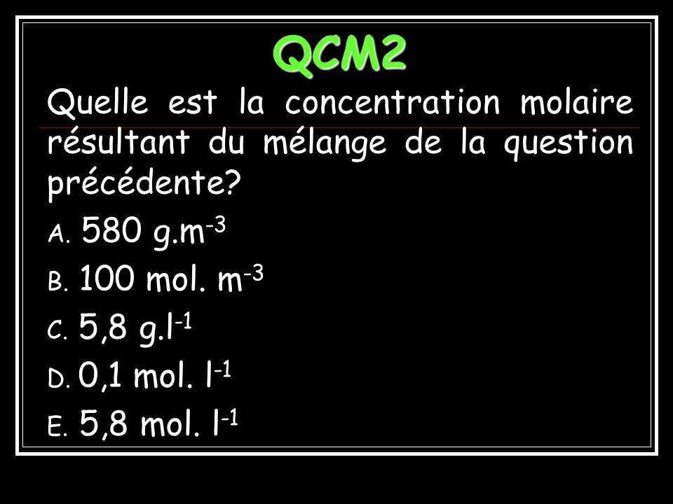 QCM2 Quelle est la concentration molaire résultant du mélange de la question précédente 580 g.m-3.