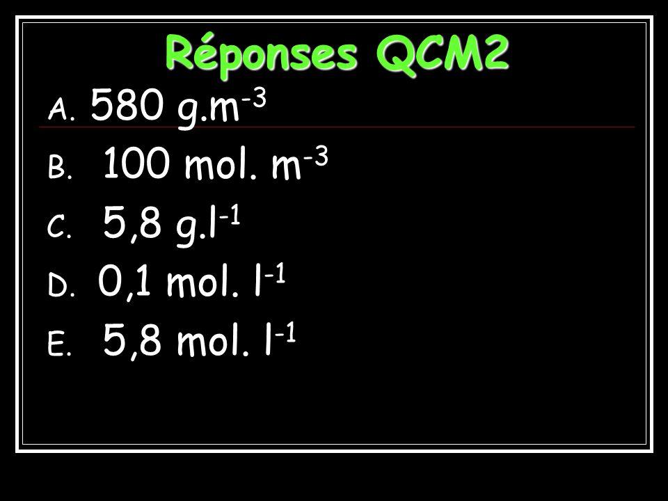 Réponses QCM2 580 g.m-3 100 mol. m-3 5,8 g.l-1 0,1 mol. l-1