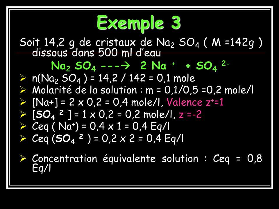 Exemple 3 Soit 14,2 g de cristaux de Na2 SO4 ( M =142g ) dissous dans 500 ml d'eau. Na2 SO4 --- 2 Na + + SO4 2-