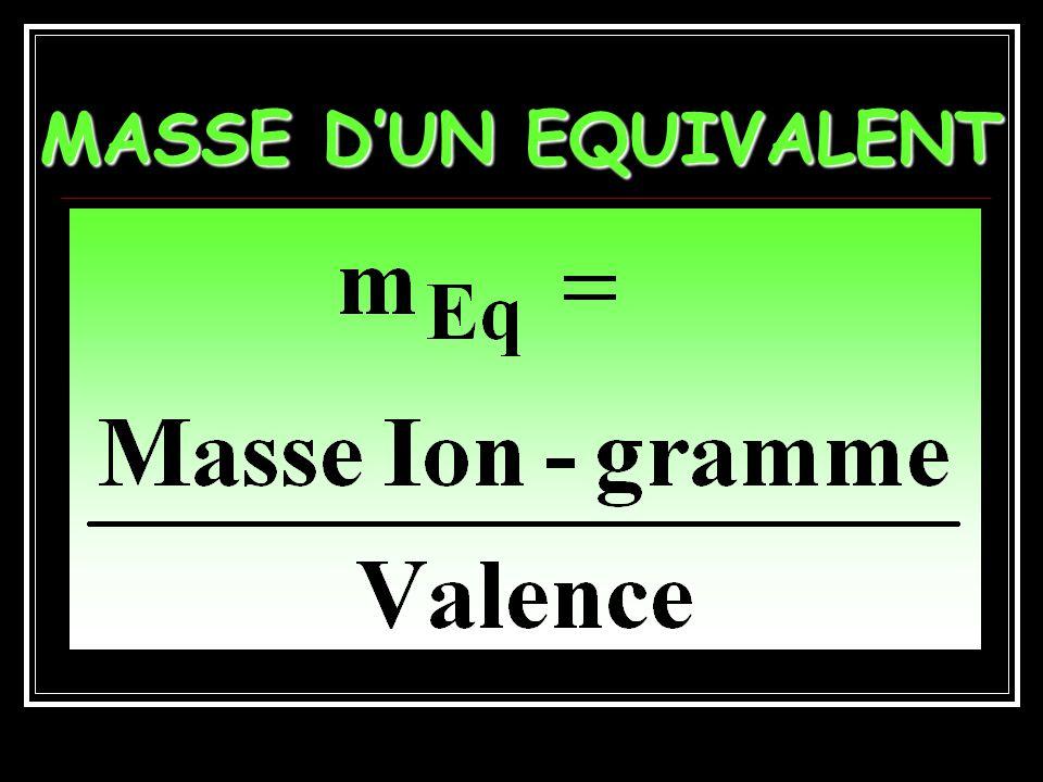 MASSE D'UN EQUIVALENT