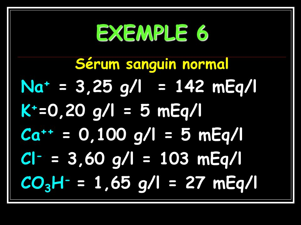 EXEMPLE 6 Na+ = 3,25 g/l = 142 mEq/l K+=0,20 g/l = 5 mEq/l
