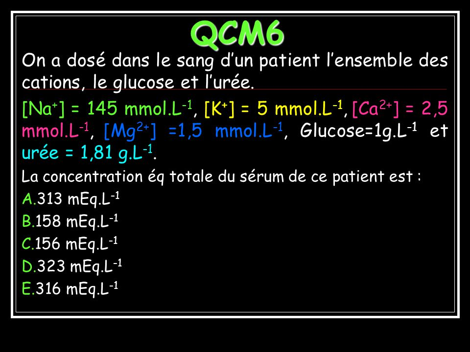 QCM6 On a dosé dans le sang d'un patient l'ensemble des cations, le glucose et l'urée.